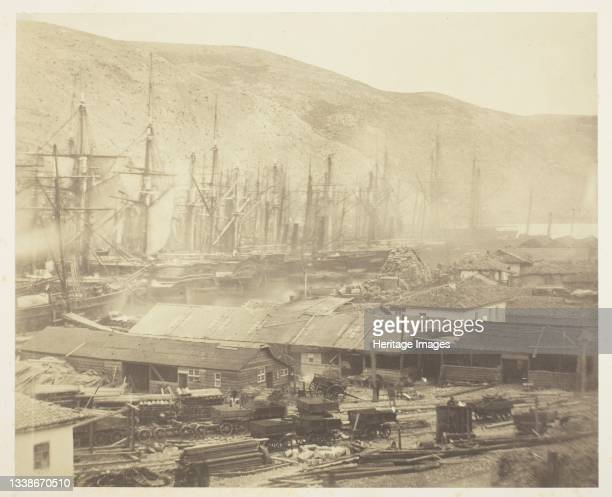 Railway Sheds and Workshops, Balaklava, 1855. A work made of salted paper print, from the album 'photographic pictures of the seat of war in the...