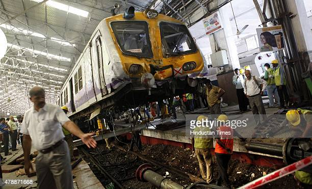 Railway staffs are trying to remove the Mumbai Western Railway suburban train which allegedly failed its brake and rammed into the platform number 3...