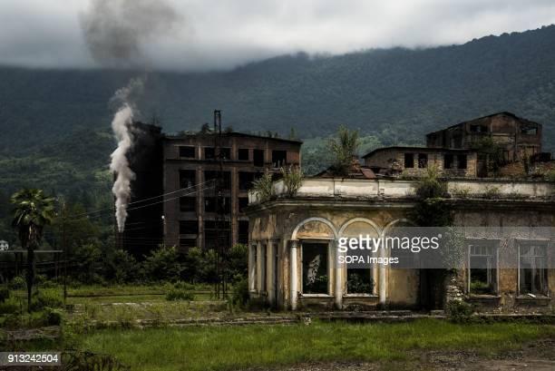 TSKVARCHELI TKVARCHELI ABKHAZIA GEORGIA Railway station and factory in the abandoned Soviet coal mining city of Tkvarcheli Abkhazia is a partially...