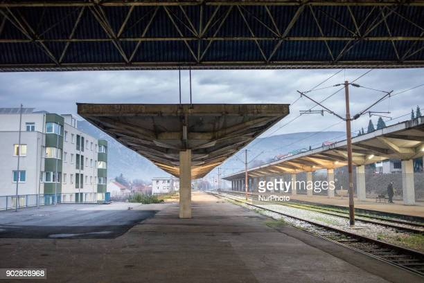 Railway station in Mostar Bosnia and Hercegovina on January 8 2018