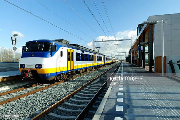 Railway station in the Netherlands with train