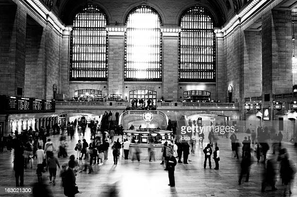 railway station, nyc. black and white. - grand central station stock photos and pictures