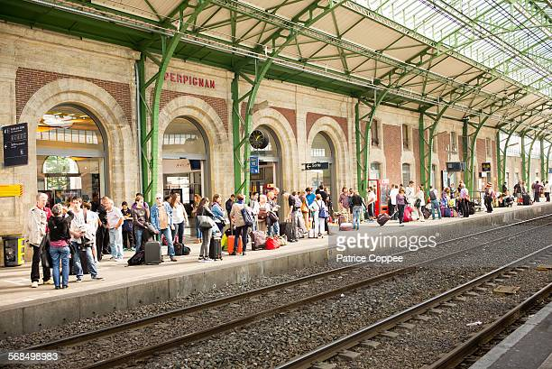 perpignan: railway station (france) - perpignan stock photos and pictures