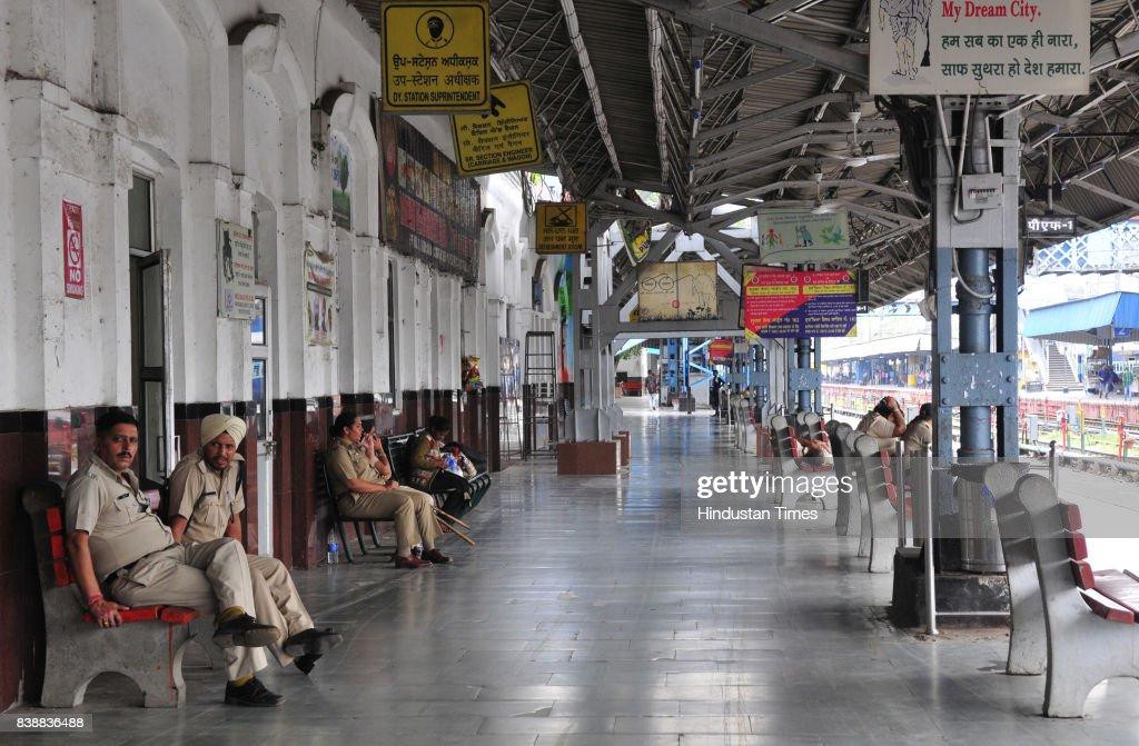 Railway Station wears deserted look on August 25 2017 in Ludhiana India The godman Gurmeet Ram Raheem Chief of Dera Sacha Sauda was charged with rape.