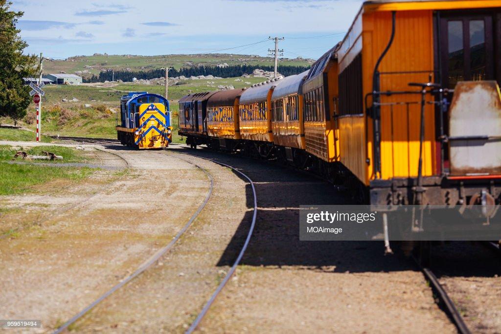 Railway track and train,South island scenery,New Zealand : Stock-Foto