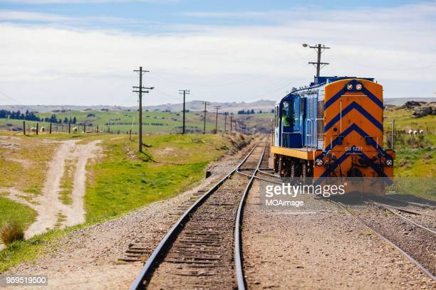 Railway track and train,South island scenery,New Zealand