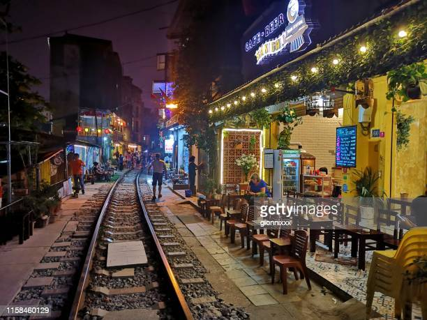 railway track in hanoi, vietnam - old town stock pictures, royalty-free photos & images