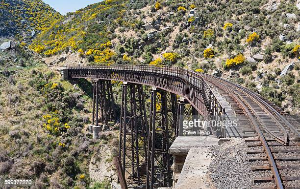 Railway track of Taieri Gorge, New Zealand crosses a bridge across a ravine