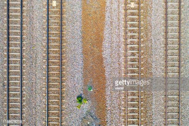 railway track seen from above - railroad track stock pictures, royalty-free photos & images