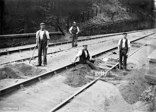 Railway tracklayers at work Bodmin Road Station Cornwall 1901 In 1888 the Great Western Railway made a branch line from Boscarne Junction to Bodmin...
