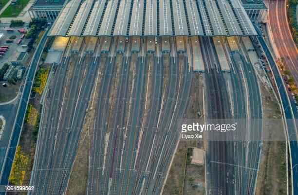 Railway tracks aerial view