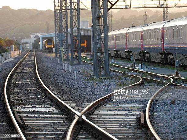 railway tracks and sheds near penzance, cornwall. - tramway stock pictures, royalty-free photos & images