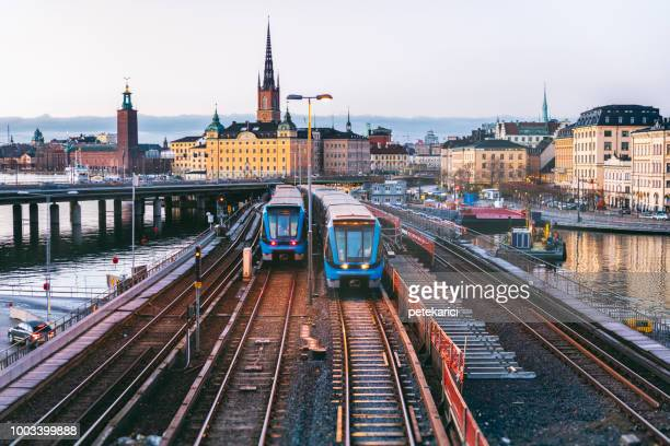 railway tracks and trains in stockholm, sweden - sweden stock pictures, royalty-free photos & images
