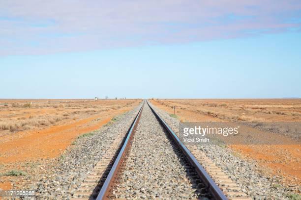 railway tracks in the dry, drought area of australia - 線路 ストックフォトと画像