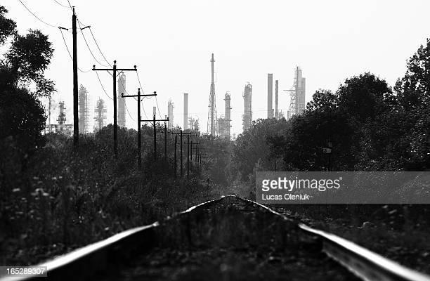 Railway tracks lead to the Sunoco refinery outside of Sarnia, Ontario.