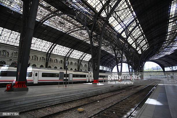 "railway tracks of frança railway station (estación de francia or ""france station"") in barcelona, spain - alta velocidad espanola stock pictures, royalty-free photos & images"