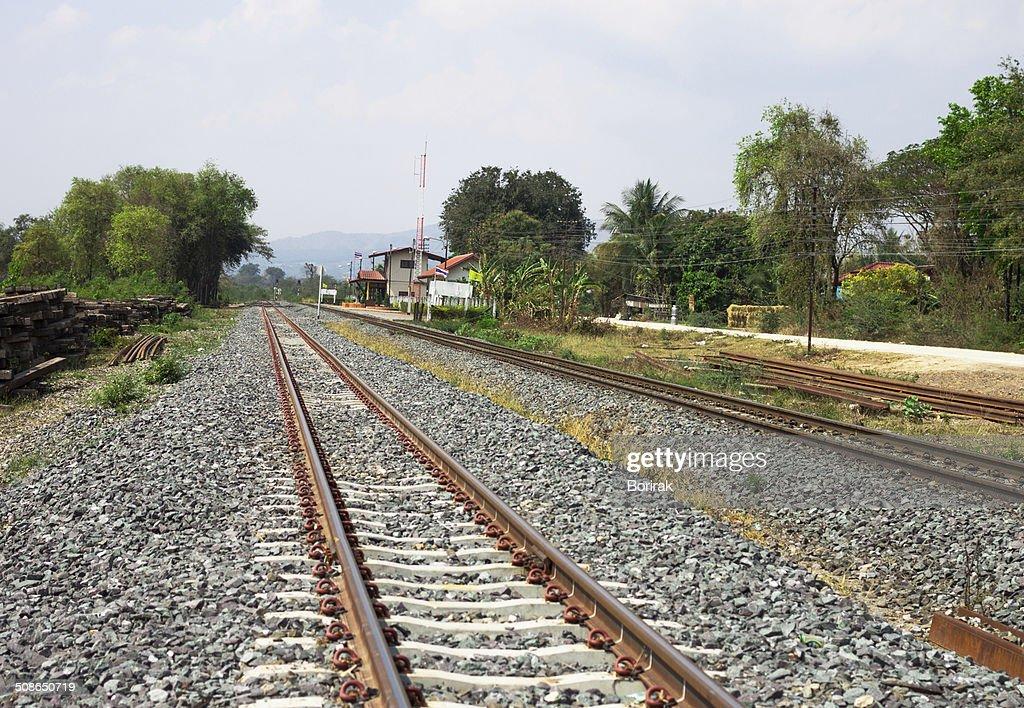 railway tracks on background of scenery : Stock Photo