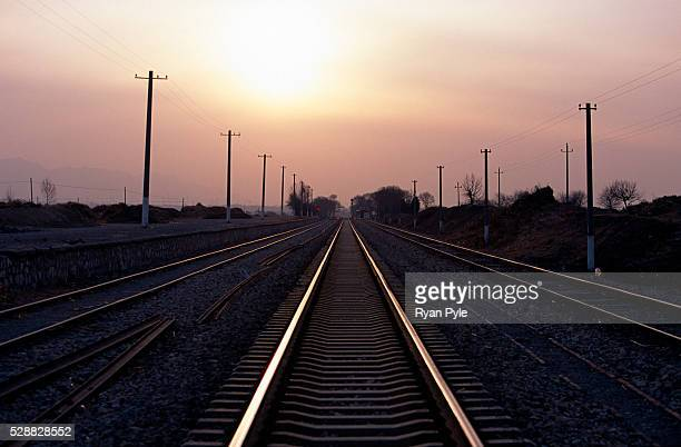 Railway tracks run through the Guanting Wind Farm in Beijing China The Guanting wind power field project is Beijing's first largescale use of wind...