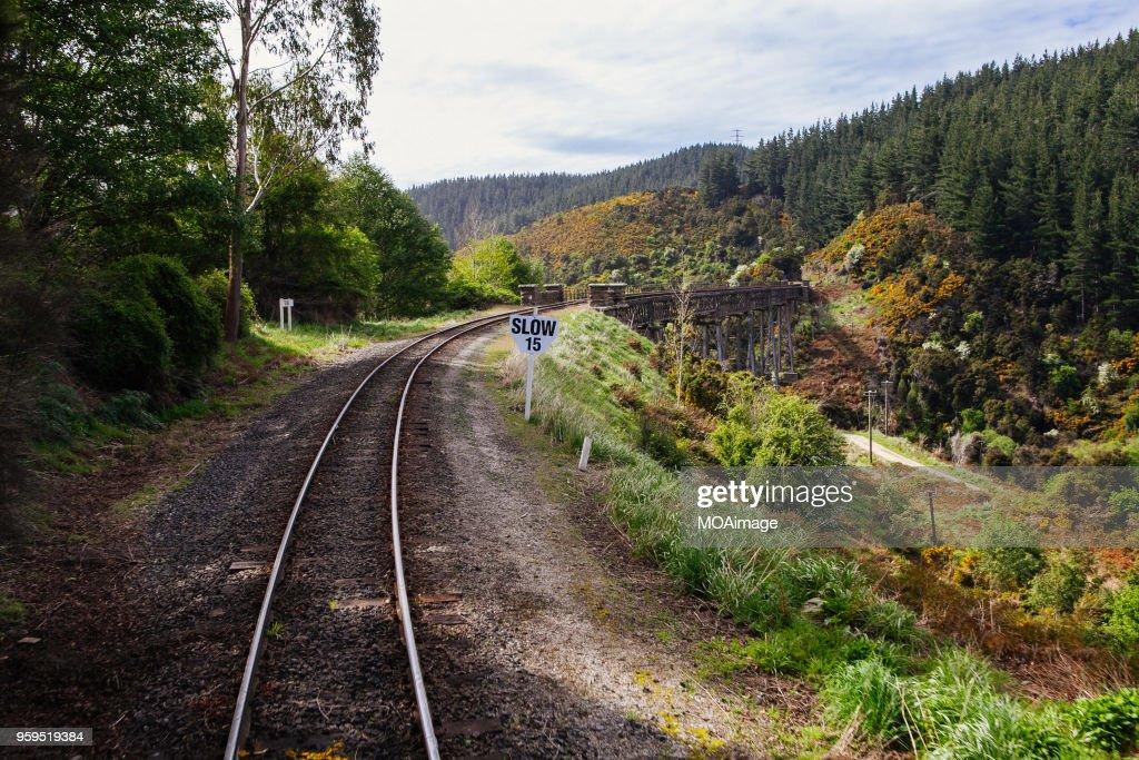 Railway track,South island scenery,New Zealand : Stock-Foto