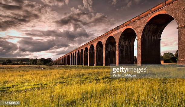 railway viaduct at sunset - viaduct stock pictures, royalty-free photos & images