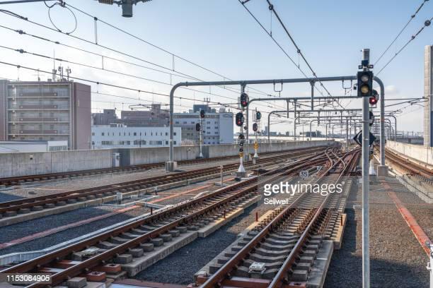 railway view from railway station - 鉄道のプラットホーム ストックフォトと画像