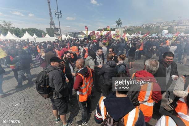 Railway workers and supporters take part in a gathering of employees of the stateowned rail operator SNCF called by CGT Unsa SUD and CFDT unions on...