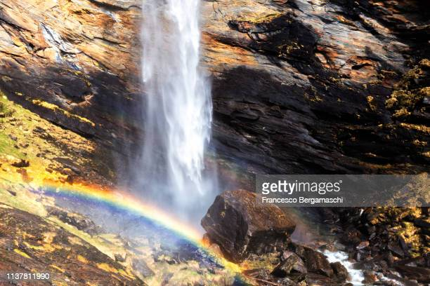 Raimbow at the Cascata della Trosa(Trosa waterfall). Valle di Peccia, Val Lavizzara, Valle Maggia, Canton of Ticino, Switzerland, Europe.