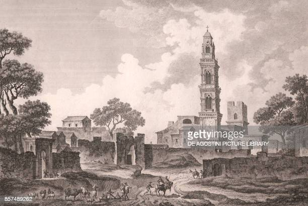 Raimondello bell tower and city walls Soleto Apulia Italy etching ca 24x19 cm from Voyage pittoresque a Naples et en Sicile Nouvelle edition by...