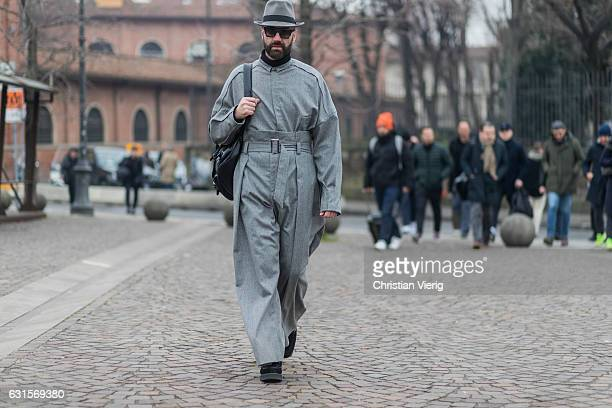 Raimondo Rossi is wearing a grey wool coat, grey hat on January 12, 2017 in Florence, Italy.
