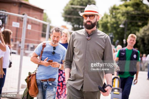 Raimondo Rossi wearing a white hat and military green shirt, is seen during the 94th Pitti Immagine Uomo at Fortezza Da Basso on June 14, 2018 in...
