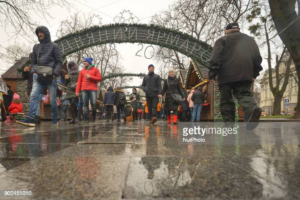 Rain and clouds impact the start of the Orthodox Christmas Day at Christmas Fair in Lviv's city center On Sunday 7 January 2018 in Lviv Ukraine