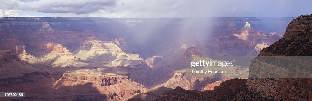 Rain and sun in the Grand Canyon : Stock Photo