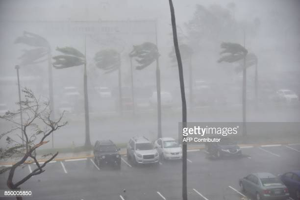 Rain and wind hit a parking lot at Roberto Clemente Coliseum in San Juan Puerto Rico on September 20 during the passage of the Hurricane Maria Maria...