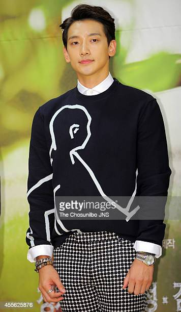 """Rain attends the SBS drama """"My Lovely Girl"""" press conference at SBS on September 15, 2014 in Seoul, South Korea."""