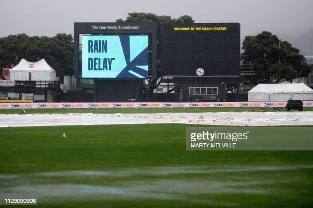 Rain causes a delay in the start of the test match during day one of the 2nd Test cricket match between New Zealand and Bangladesh at the Basin...