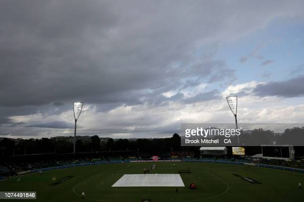 Rain clears before the start of the Sydney Thunder v Melbourne Stars Big Bash League Match at Manuka Oval on December 21 2018 in Canberra Australia