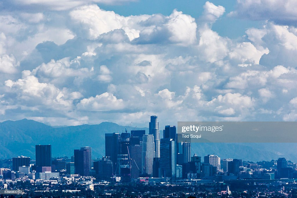 Rain clouds fill the skies above Los Angeles  El Nino, a