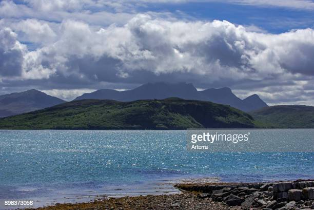 Rain clouds forming over Ben Loyal on west side of Kyle of Tongue shallow sea loch in northwest Highland Sutherland Scottish Highlands Scotland