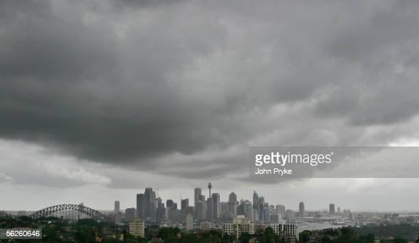 Rain clouds loom over the city skyline November 23, 2005 in Sydney, Australia.