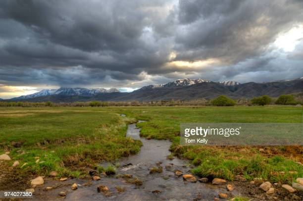 rain clouds over prairie, mount timpanogos, wasatch county, utah, usa - grass area stock pictures, royalty-free photos & images