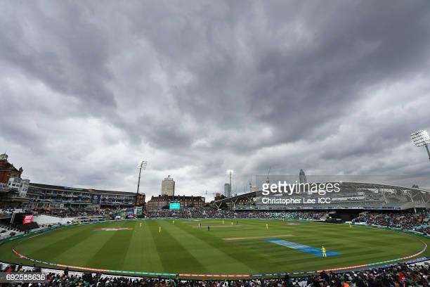 Rain clouds over the Oval during the ICC Champions Trophy Group A match between Australia and Bangladesh at The Kia Oval on June 5 2017 in London...