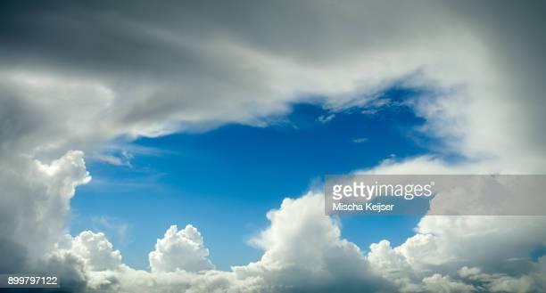 Rain clouds over the Wadden sea before hitting Friesland, Workum, Friesland, Netherlands, Europe