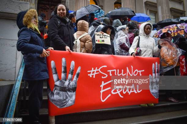 Rain could not stop hundreds in front of NYC Department of Education Building in Lower Manhattan of New York City demanding to bring Black History to...