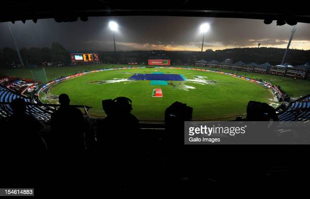 Rain delay before the start of play during the Karbonn Smart CLT20 match between Nashua Titans and Delhi Daredevils at SuperSport Park on October 23...