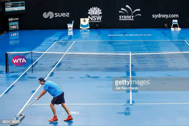 Rain delays play during day two of the 2018 Sydney International at Sydney Olympic Park Tennis Centre on January 8 2018 in Sydney Australia