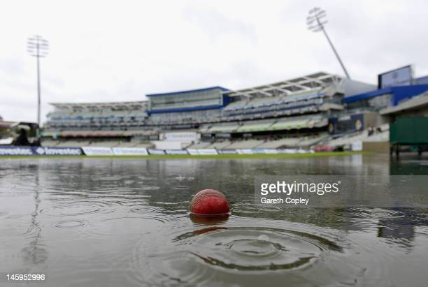 Rain delays the start of day two of the third 3rd Investec Test match between England and the West Indies at Edgbaston on June 8 2012 in Birmingham...