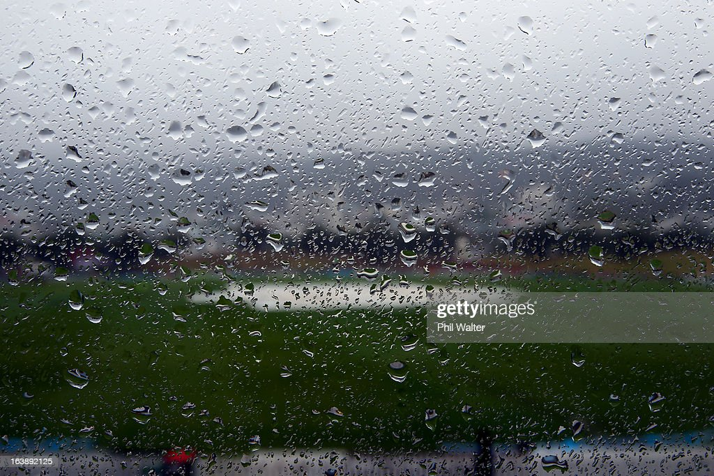 Rain delays the start of play on day five of the Test match between New Zealand and England at Basin Reserve on March 18, 2013 in Wellington, New Zealand.