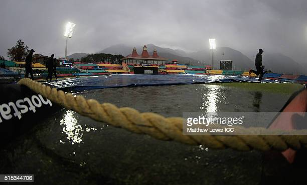 Rain delays the start of the ICC World Twenty20 India 2016 match between Netherlands and Ireland at the HPCA Stadium on March 13 2016 in Dharamsala...