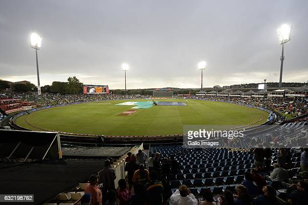 Rain delays toss of the 1st KFC T20 International match between South Africa and Sri Lanka at SuperSport Park on January 20 2017 in Pretoria South...