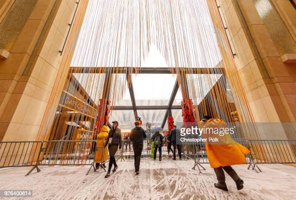 Rain drenched plastic covers the entrence to the red carpet as preperations for this years 90th Oscars continue on March 2 2018 in Hollywood...